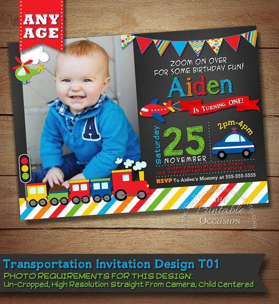 Transportation Invitation, Transportation Birthday, Cars Trucks Planes Invitation, Transportation Party, Chalkboard Invitation, DIY on Etsy, $9.99