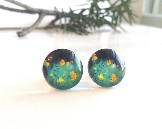 Nature Print Earrings Flowers and Grass Round Glass Studs