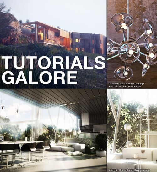 """TUTORIALS FOR AWESOME:    Ok. You're probably not ready for this yet, but I wish I was exposed to all of this stuff much younger in my career. Be careful. With great renderings comes great responsibility. And by responsibility, I mean hours of nearly unbearable frustration.     ronenbekerman.com    The Shipyard / Photoshop Postwork Breakdown(Watch the video)    Making of ASGVIS VRay for SketchUP Winning Render    Making of GH House """"Between the Rocks"""" by Anninos Konstantinos    ..."""