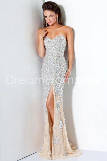 2014 Brilliant And Sexy Sweetheart Court Train Beading Chiffon Evening Dresses