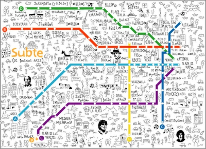 Best Illustrated Buenos Aires Images On Pinterest Cities - Argentina subte map