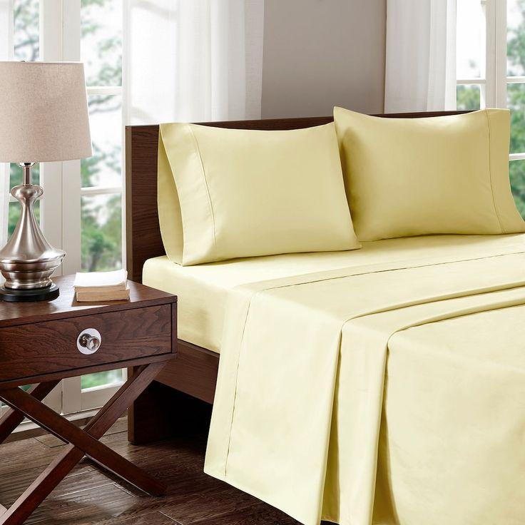 Madison Park 400 Thread Count Aloe Vera Cotton Sheet Set, Natural Cal King