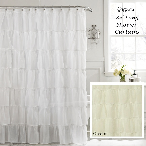 "White 84"" Long Gypsy Shabby Chic Ruffled Fabric Shower Curtain"
