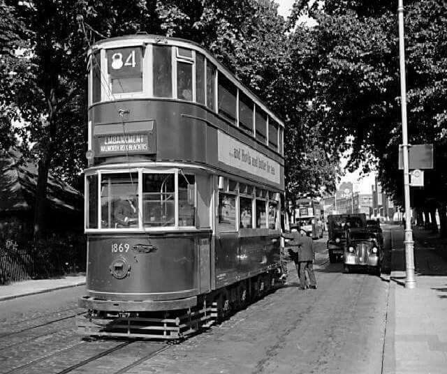 An Old Photo of an 84 Tram up Rye Lane Peckham South East London England