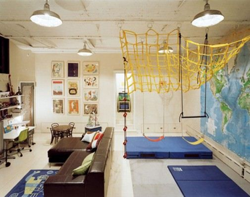 Cool kids basement playroom ideas with brown sofa and for Kids play rooms