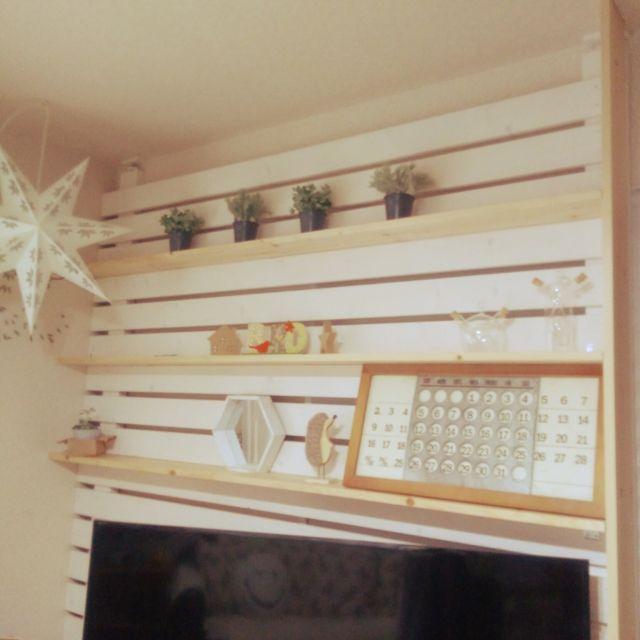 kazuさんの、手作り棚,ニトリのフェイクグリーン,万年カレンダー,棚DIY,2×4,1×4材,2×4材,ディアウォール棚,のお部屋写真