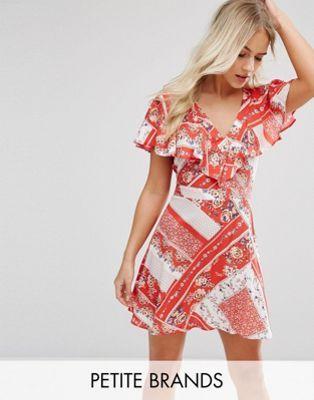 Miss Selfridge Petite Floral Printed Wrap Tea Dress