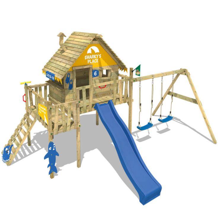 Best Details zu WICKEY Smart Resort Spielturm Stelzenhaus Baumhaus Kletterturm Schaukel Rutsche