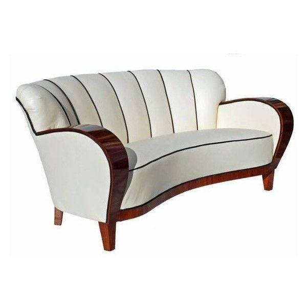 An Art Deco Curved Walnut Sofa Circa 1930s ❤ liked on Polyvore featuring home, furniture, sofas, walnut wood furniture, art deco sofa, art deco style furniture, art deco couch and walnut furniture