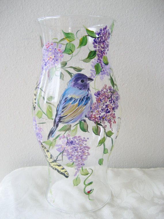 hurricane candle holder with bluebird by TivoliGardens on Etsy, $36.00