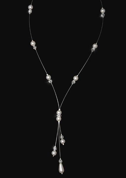 Collier mariage DELIA, cristal Swarovski, perles nacrées, facettes