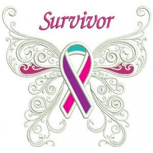 Thyroid Cancer Awareness Butterfly With Ribbon Applique Machine Embroidery Design Digitized Pattern
