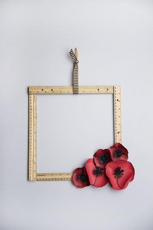 Paper flower ruler wreath for teachers or classroom