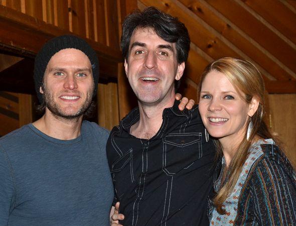 Steven Pasquale and Kelli O'Hara flank their composer, Jason Robert Brown.(© David Gordon)