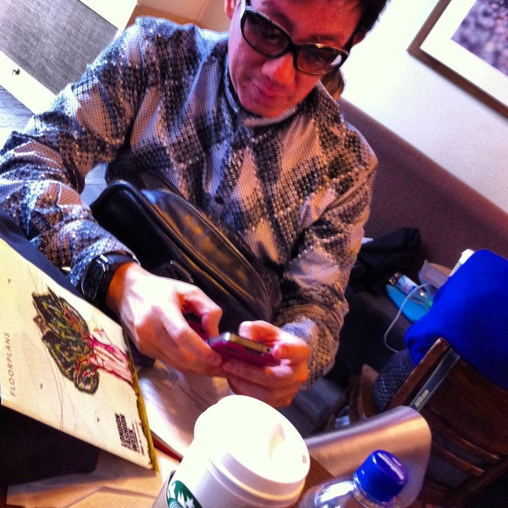 Singapore's godfather of fashion Daniel Boey sorting our his schedule for London Fashion Week AW13