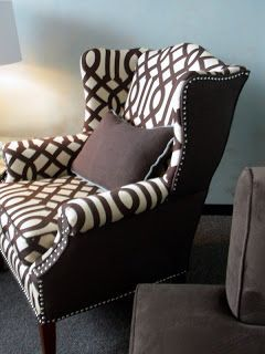 Reupholstered chair  | solid sides/back to offset the print on front.