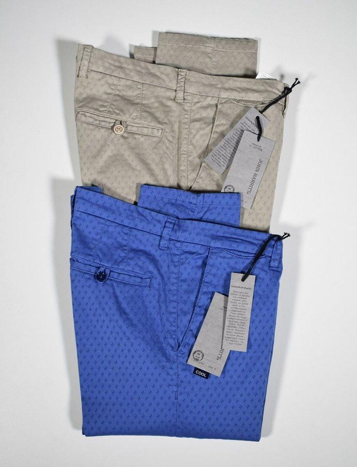 Slim fit stretch cotton pants john barritt tiny patterns