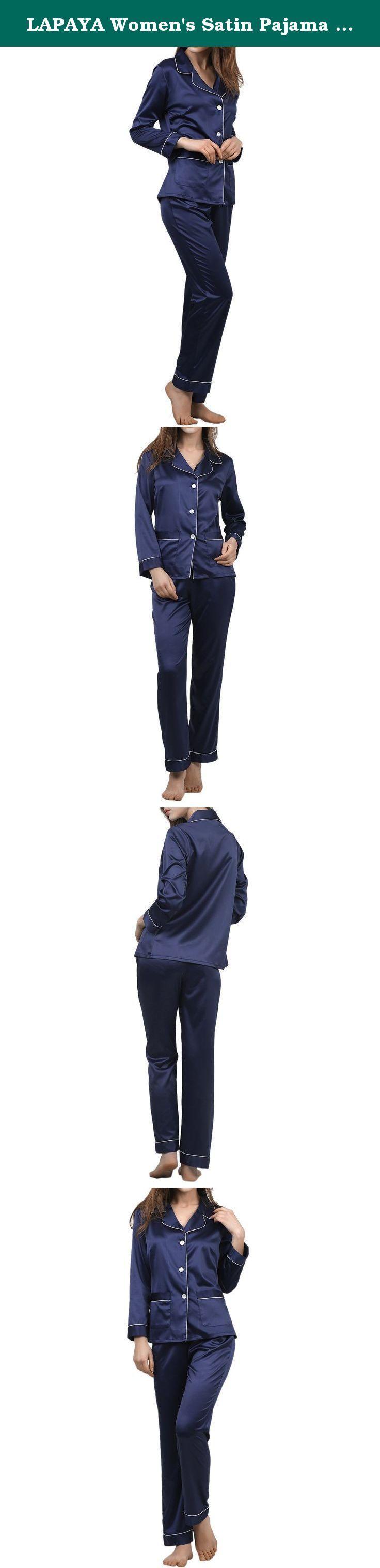 LAPAYA Women's Satin Pajama Sets Long Sleeve Button Down Silky Two Piece Pajamas, Navy Blue, Tag size M=US size S. LAPAYA Women's Satin Pajama Sets Long Sleeve Button Down Silky Two Piece Pajamas.
