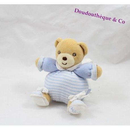 Mini doudou ours KALOO bleu rayé blanc attache tétine 12 cm