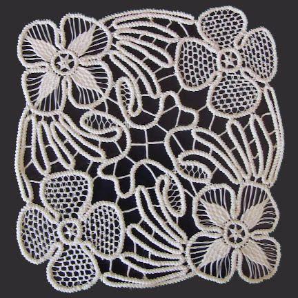 "White Point Lace, Romanian Crochet Doily, Floral Pattern , 6"" x 6"""