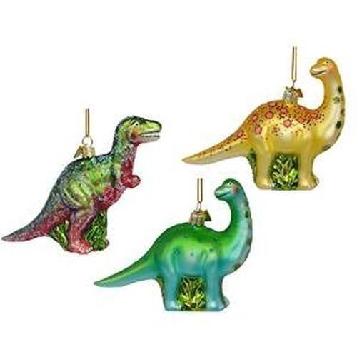 Spruce up Christmas 2017 with a few festive, trendy and  whimsical glass Christmas ornaments.   Enjoy beautiful intricate designs with bold colors.  You will enjoy crystal glass Christmas ornaments,  Swarovski glass Christmas ornaments, stained glass Christmas ornaments, fused  glass Christmas ornaments and handblown glass #Christmas ornaments.       Dinosaurs Prehistoric Animals Set of 3 Glass Ornaments Christmas T-Rex