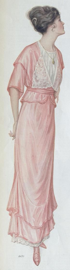 Pink silk party dress, Ladies Home Journal, september 1914