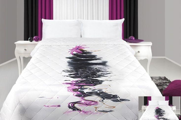 Biely prehoz na posteľ s čiernym motívom uprostred