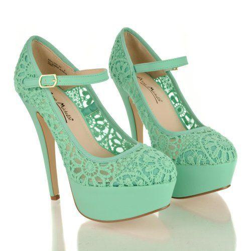 Gorgeous Lace Platform Pumps - Mint green dress outfits