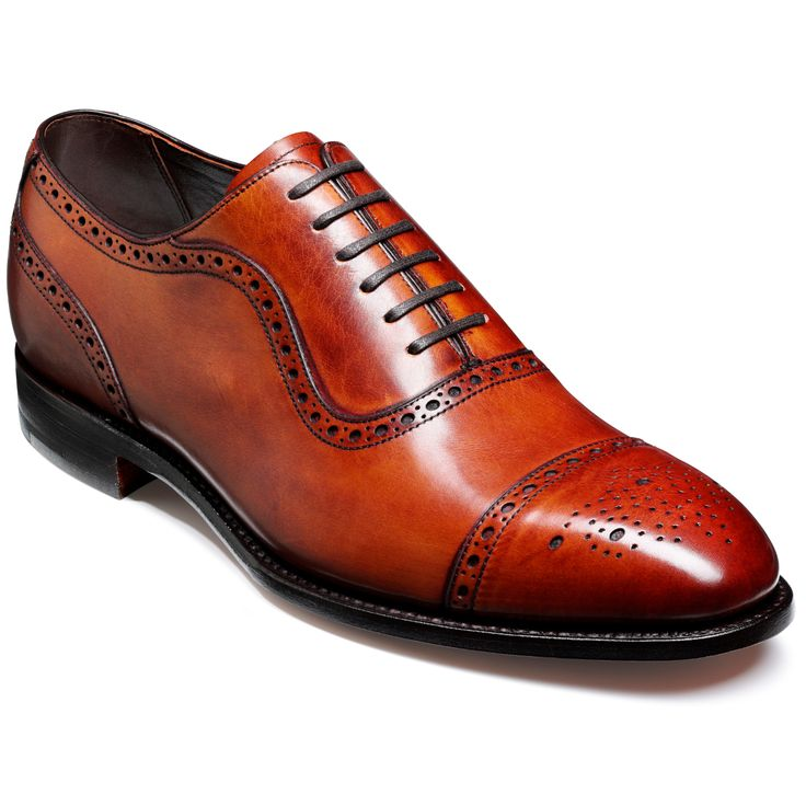 Barker Fine English Shoes UK 7 Brogues Leather Custom Grade - Red