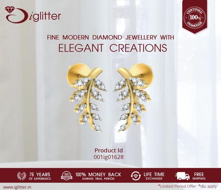Fine Modern Diamond Jewellery with Elegant Creations. Shop Now : http://bit.ly/1IVf5FL  #iGlitterindia #Earrings #Diamonds #Jewellery