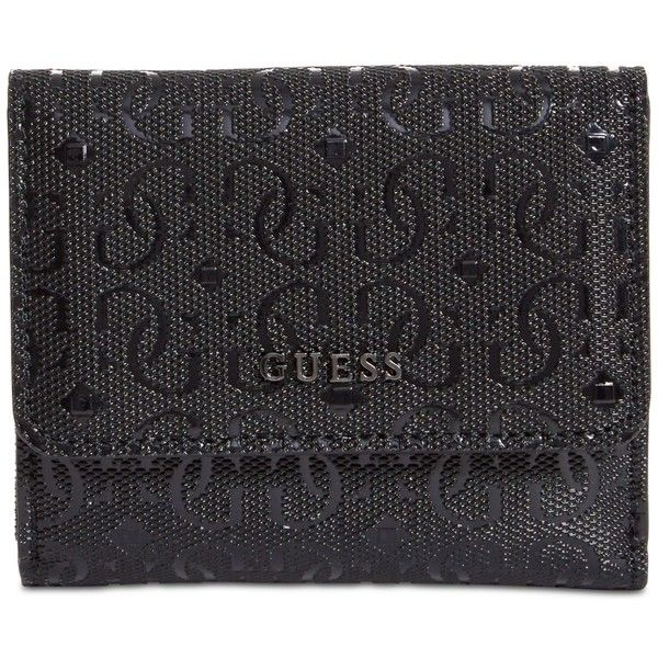 Guess Kamryn Card & Coin Purse ($35) ❤ liked on Polyvore featuring bags, wallets, black, snap closure coin purse, vegan wallet, guess wallets, coin purse wallets and vegan leather wallet