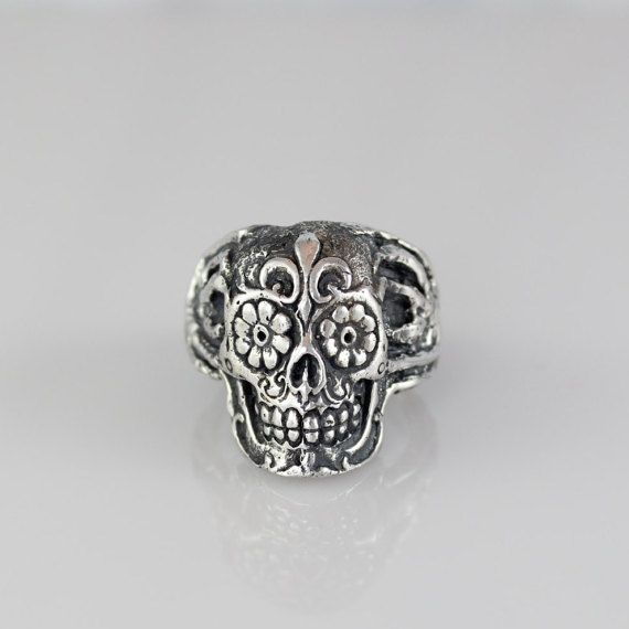 Mens Skull Ring Sterling Silver Fleur-De-Lis Sugar Skull Ring