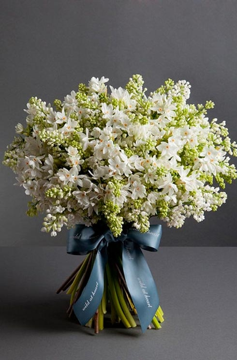 THE SPRING BOUQUET White flowers are not just for weddings.   Wild at Hearts bouquet of white lilacs and narcissi flowers is bright, fresh and smells divine - perfect for adding an instant touch of spring to your home.
