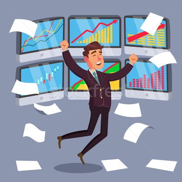 Successful Trader Vector. Stock Market Graph Diagram. Ascending Graphs. Data Analyses. Isolated On W stock photo (c) pikepicture (#8597303) | Stockfresh