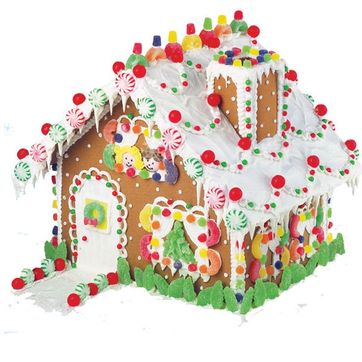It?s the Ultimate Gingerbread Kit. Complete with trees, red and green pinwheel mints, candy-covered chimney and a rainbow of color and everywhere you look. This generous-sized house would make a wonderful centerpiece on your table all holiday long.