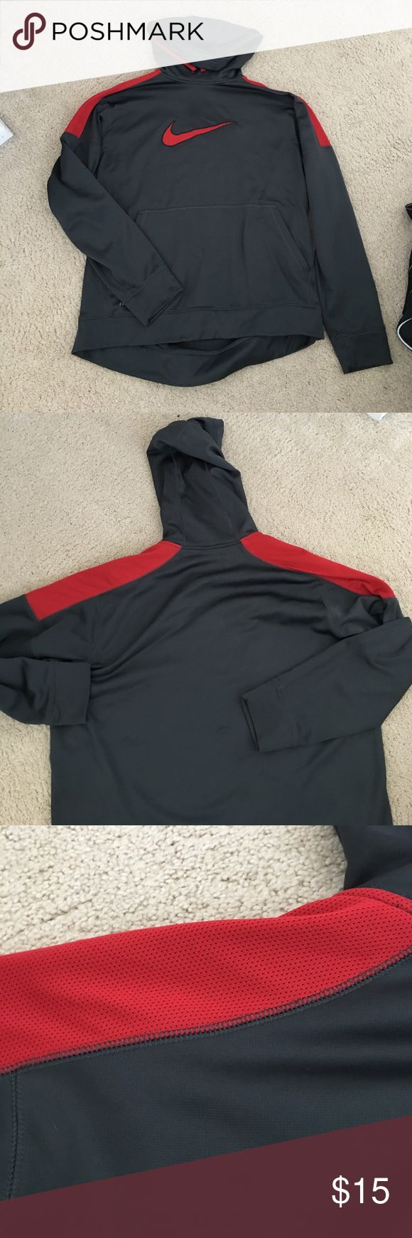 Grey and red Nike hoodie Red is a mesh material. Therma fit Nike Sweaters