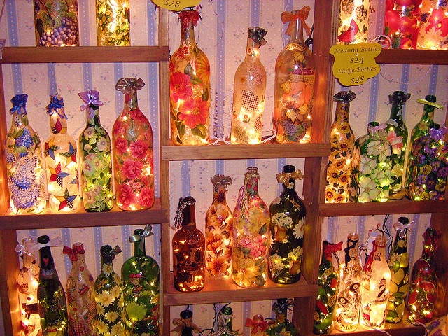 decorated bottles with lights