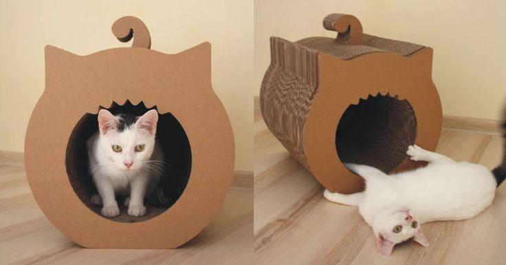 cardboard cat house and scratcher