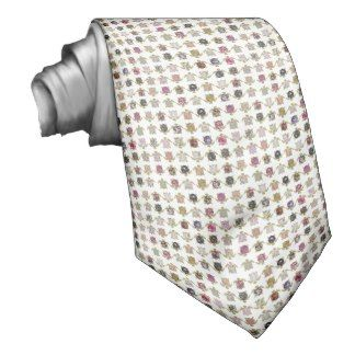 Whimsical turtles with girly floral retro pattern necktie