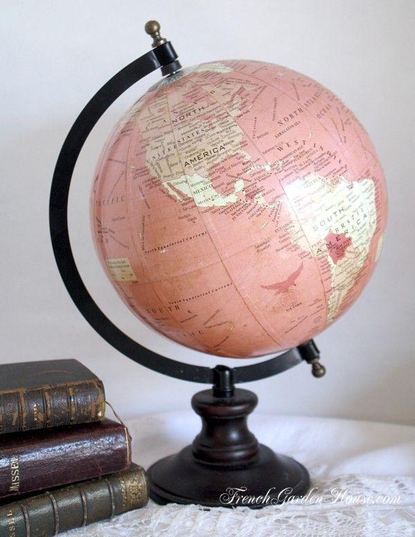 Shabby Pink World Globe