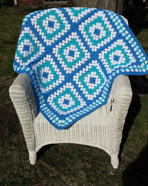 Crochet Baby Blanket Delft Blue Aqua Granny Square by ThelmasGifts