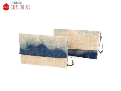 Hemp dip dyed clutches - Eco & Fair Trade