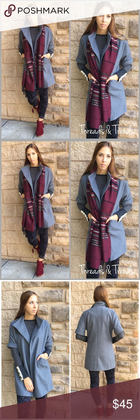 """Grey Blazer Jacket Back to basics grey blazer jacket. 3/4 length cuffed sleeves, open front and two front pockets. Made of a hemp faux wool. Fully lined. Size S/M.                                                           Bust 40"""" Sleeve length 16"""" Length 32"""" Threads & Trends Jackets & Coats Blazers"""