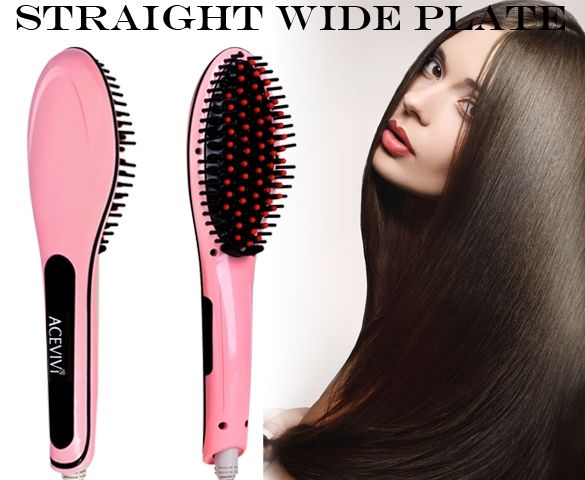 ACEVIVI Pink Digital Electric Hair Straightener Comb Heating Detangling Hair Brush EU/ US/ UK Plug