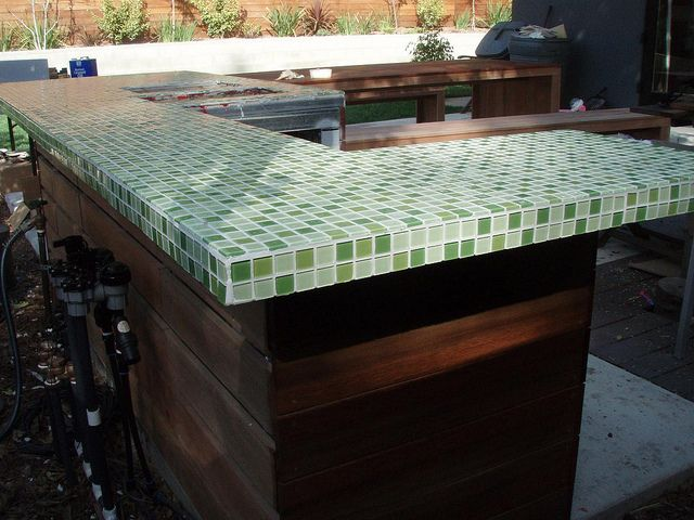green glass tile countertop outdoor living pinterest