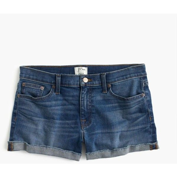 J.Crew Denim Short ($105) ❤ liked on Polyvore featuring shorts, cuffed denim shorts, j. crew shorts, cuffed shorts, jean shorts and cotton shorts