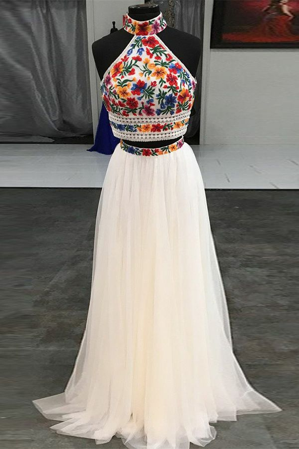 3aafbae35ed Hot Sale Glorious Two Pieces Prom Dresses Two Piece High Neck Embroidery  White Long Prom Dress