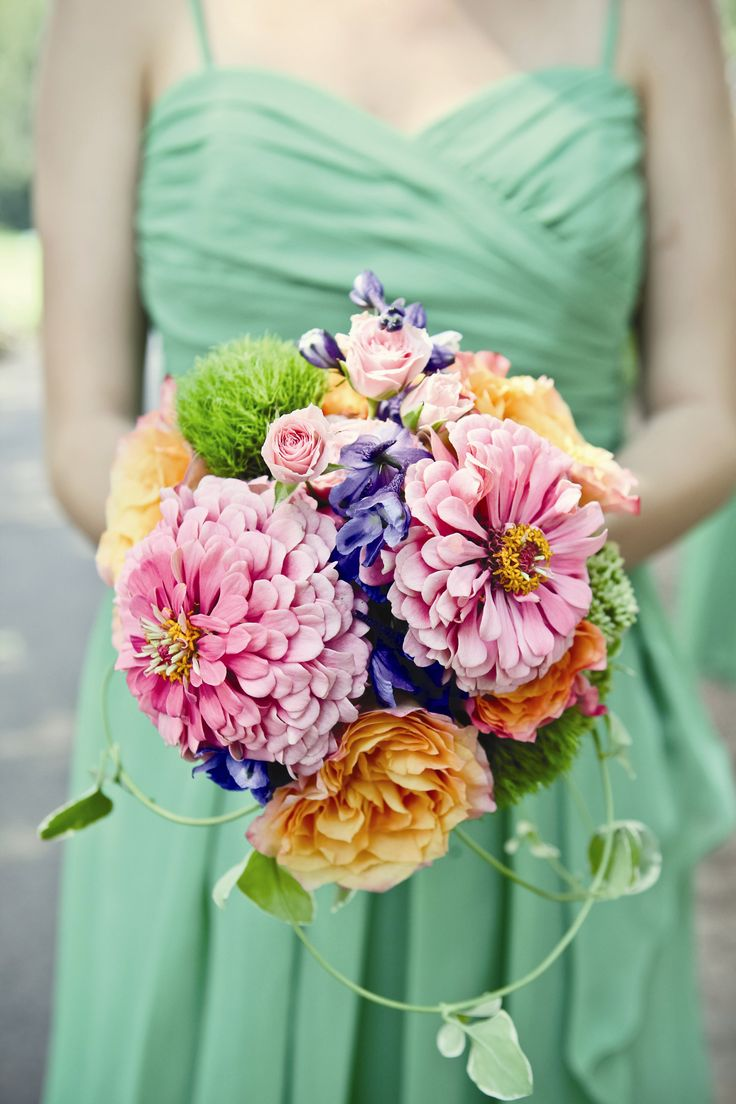 Rose and Zinnia Bridesmaid Bouquets