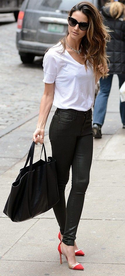 Shop this look for $134:  http://lookastic.com/women/looks/white-crew-neck-t-shirt-and-black-skinny-jeans-and-black-shopper-handbag-and-red-heels/894  — White Crew-neck T-shirt  — Black Leather Skinny Jeans  — Black Shopper Handbag  — Red Heels