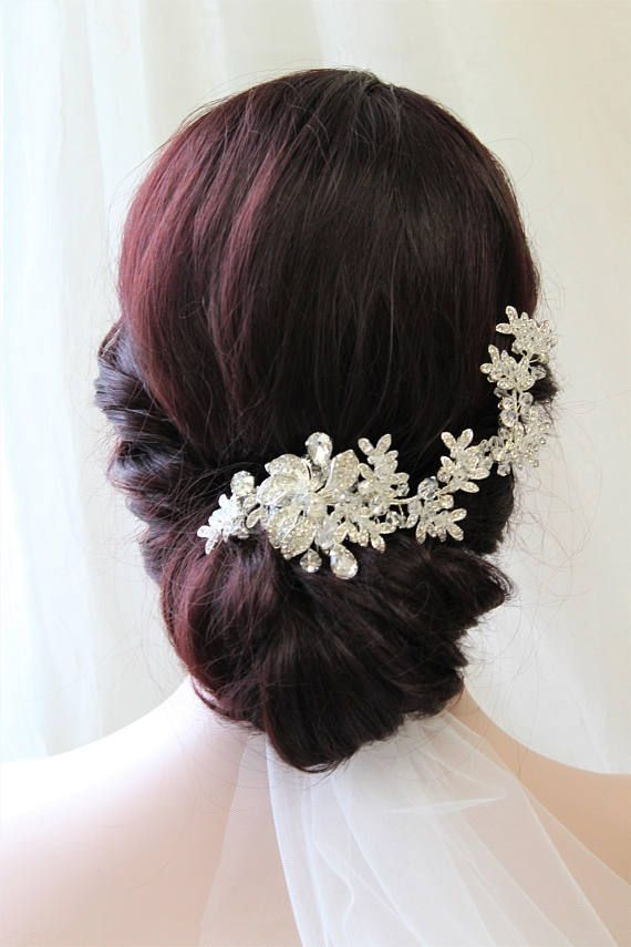 Wedding Gown Accessories Crystal Hair Vine Halo Diamante Bridal Dress Head Piece